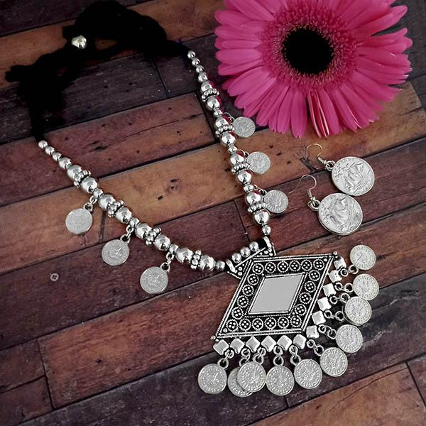 Jeweljunk Oxidised Plated Coins Necklace Set - 1114619