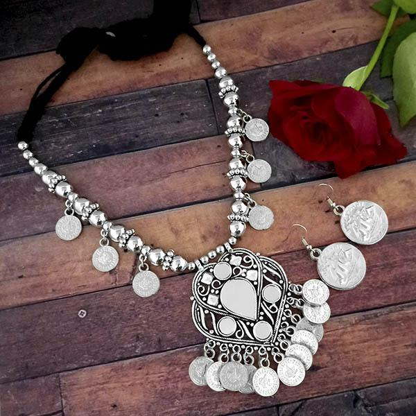 Jeweljunk Oxidised Plated Coins Necklace Set - 1114620