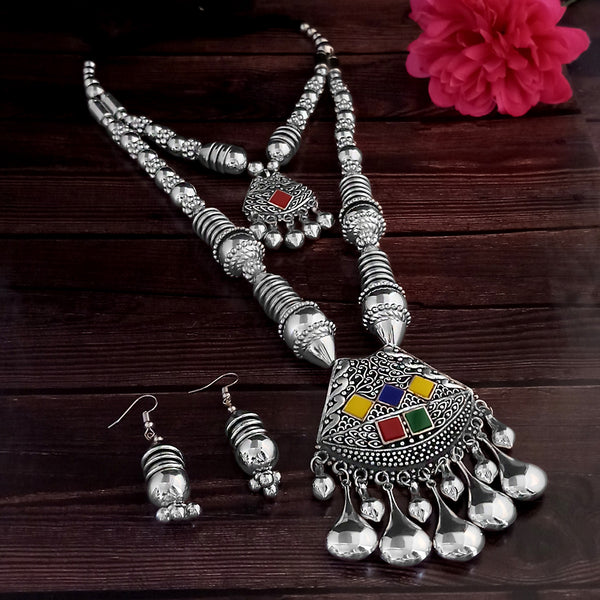 Jeweljunk Oxidised Plated Multicolor Two Layer Necklace Set