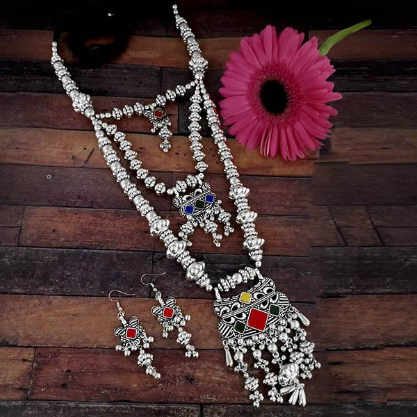 Jeweljunk Oxidised Plated Multicolor Three Layer Necklace Set - 1114625