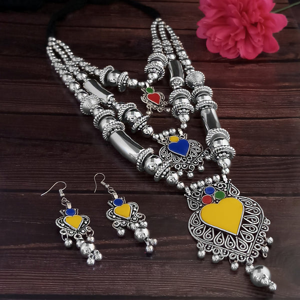 Jeweljunk Oxidised Plated Multicolor Three Layer Necklace Set