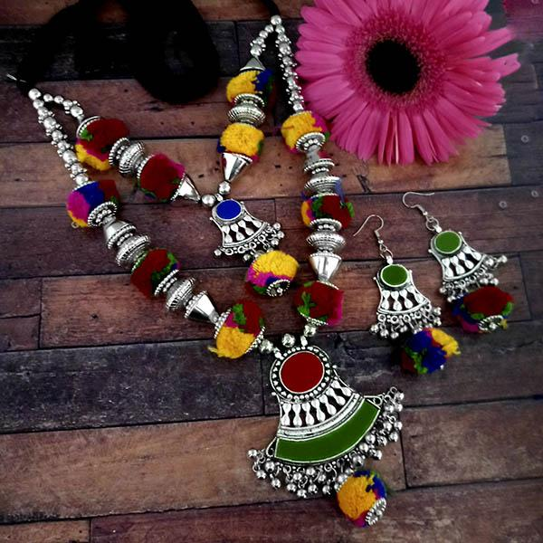 Jeweljunk Oxidised Plated Multicolor Two Layer Pom Pom  Necklace Set - 1114631