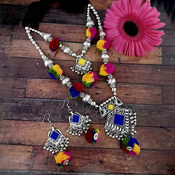 Jeweljunk Oxidised Plated Multicolor Two Layer Pom Pom  Necklace Set - 1114640