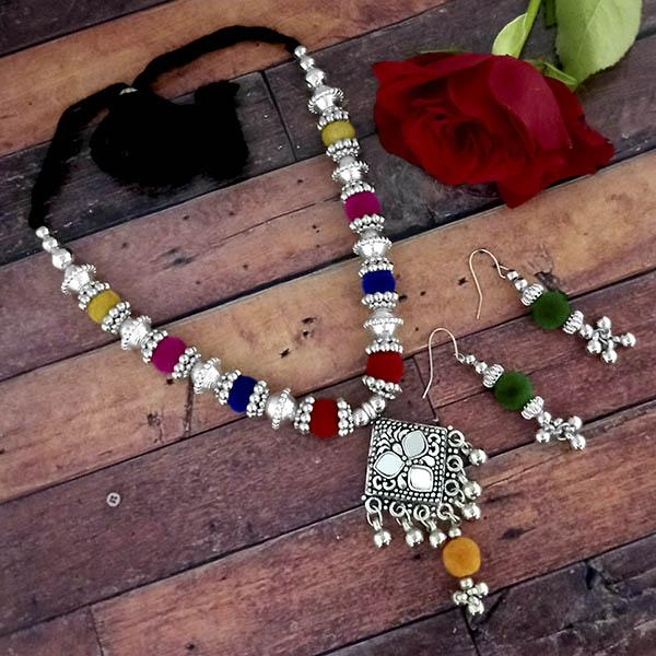 Jeweljunk Oxidised Plated Multicolor Necklace Set - 1114646A
