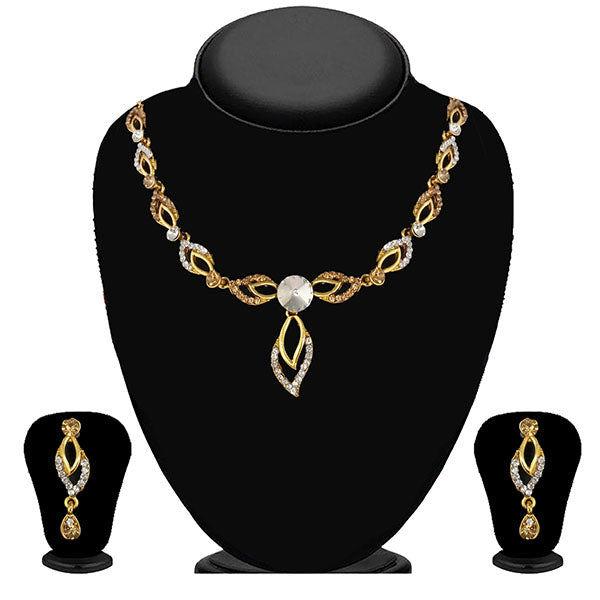 Kriaa Gold Plated Brown Austrian Stone Necklace Set - 1114702A