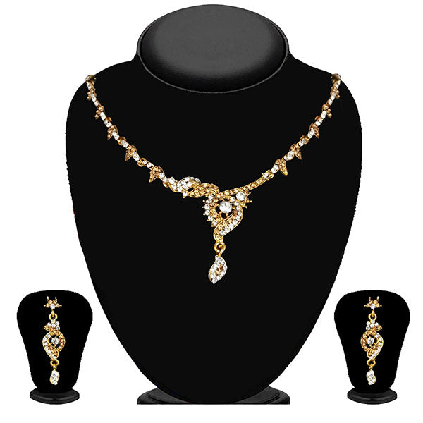 Kriaa Gold Plated Brown Austrian Stone Necklace Set - 1114703A