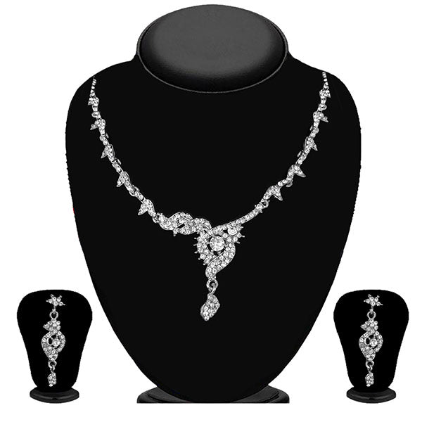 Kriaa Silver Plated White Austrian Stone Necklace Set - 1114703B