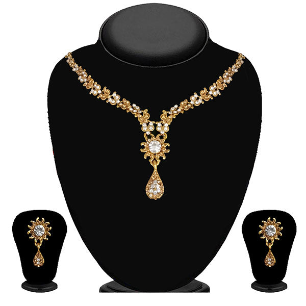 Kriaa Gold Plated Brown Austrian Stone Necklace Set - 1114704A
