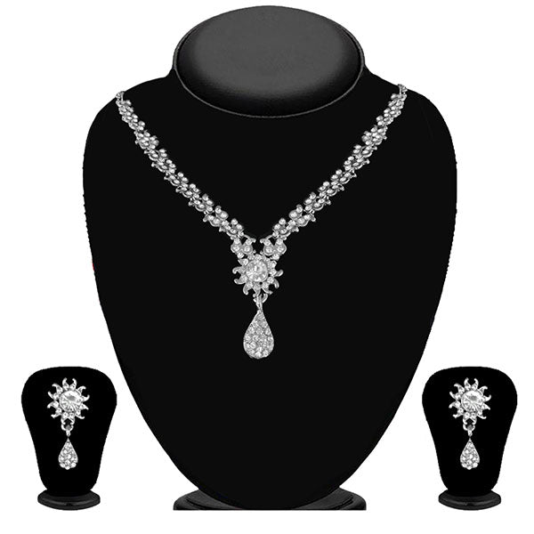 Kriaa Silver Plated White Austrian Stone Necklace Set - 1114704B