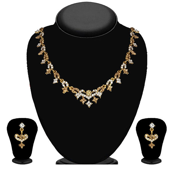 Kriaa Gold Plated Brown Austrian Stone Necklace Set - 1114705A