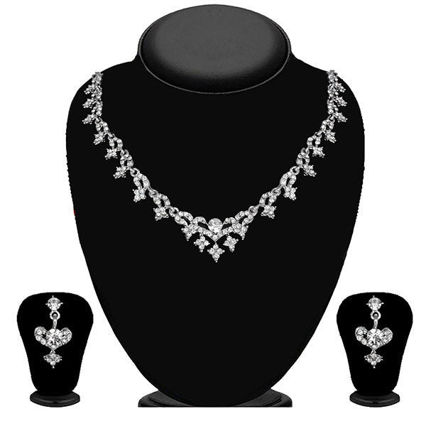 Kriaa Silver Plated White Austrian Stone Necklace Set - 1114705B
