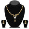 Kriaa Gold Plated Brown Austrian Stone Necklace Set - 1114706A