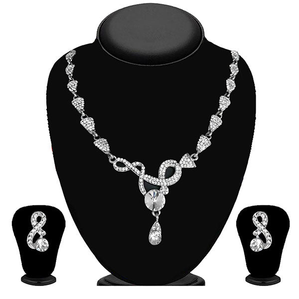 Kriaa Silver Plated White Austrian Stone Necklace Set - 1114706B