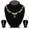 Kriaa Gold Plated Brown Austrian Stone Necklace Set - 1114707A
