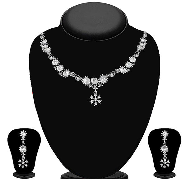 Kriaa Silver Plated White Austrian Stone Necklace Set - 1114707B