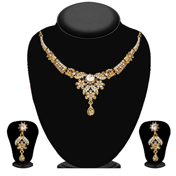 Kriaa Gold Plated Brown Austrian Stone Necklace Set - 1114708A