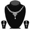 Kriaa Silver Plated White Austrian Stone Necklace Set - 1114708B