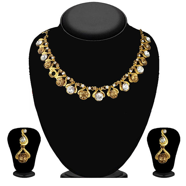 Kriaa Gold Plated Brown Austrian Stone Necklace Set - 1114709A