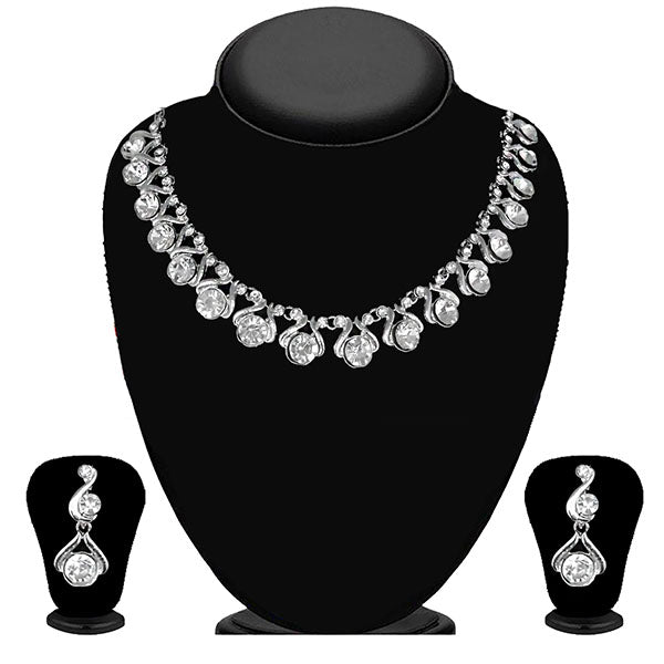 Kriaa Silver Plated White Austrian Stone Necklace Set - 1114709B