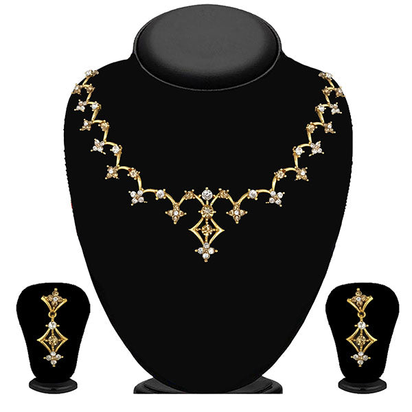 Kriaa Gold Plated Brown Austrian Stone Necklace Set - 1114710A