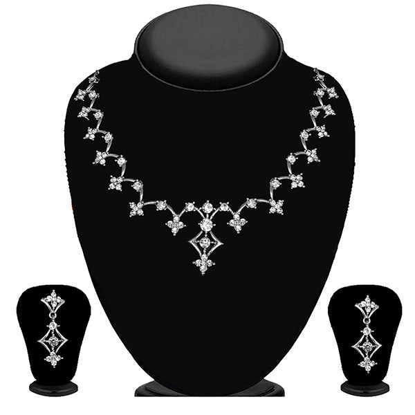 Kriaa Silver Plated White Austrian Stone Necklace Set - 1114710B
