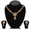 Kriaa Gold Plated Brown Austrian Stone Necklace Set - 1114711A