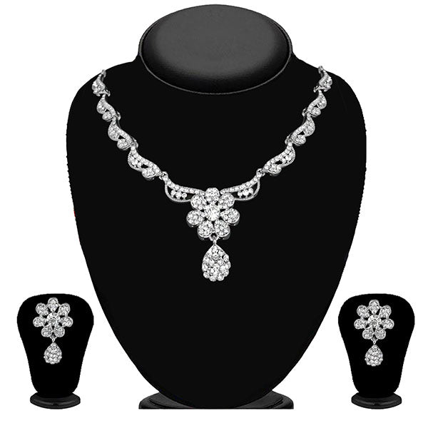 Kriaa Silver Plated White Austrian Stone Necklace Set - 1114711B