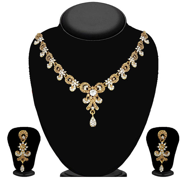 Kriaa Gold Plated Brown Austrian Stone Necklace Set - 1114712A