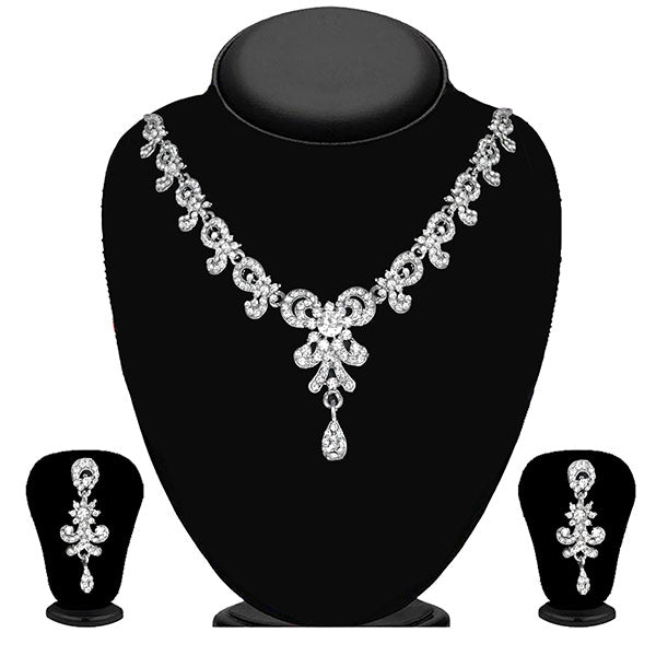 Kriaa Silver Plated White Austrian Stone Necklace Set - 1114712B