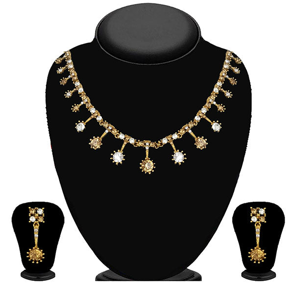 Kriaa Gold Plated Brown Austrian Stone Necklace Set - 1114713A