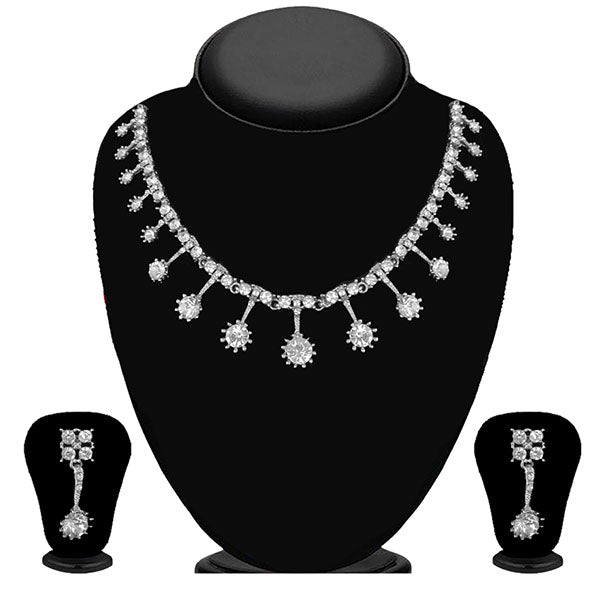 Kriaa Silver Plated White Austrian Stone Necklace Set - 1114713B