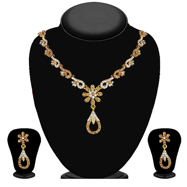 Kriaa Gold Plated Brown Austrian Stone Necklace Set - 1114714A