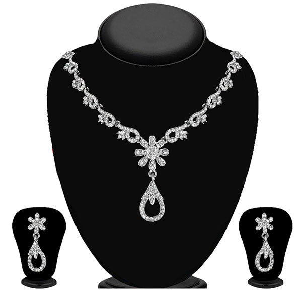 Kriaa Silver Plated White Austrian Stone Necklace Set - 1114714B