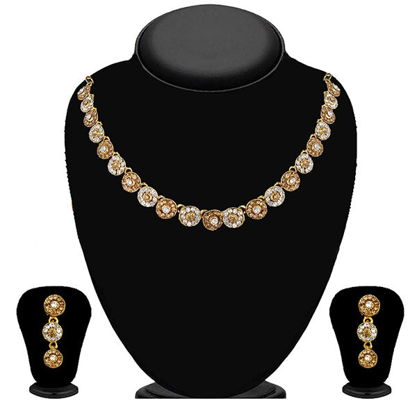 Kriaa Gold Plated Brown Austrian Stone Necklace Set - 1114715A