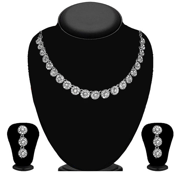 Kriaa Silver Plated White Austrian Stone Necklace Set - 1114715B