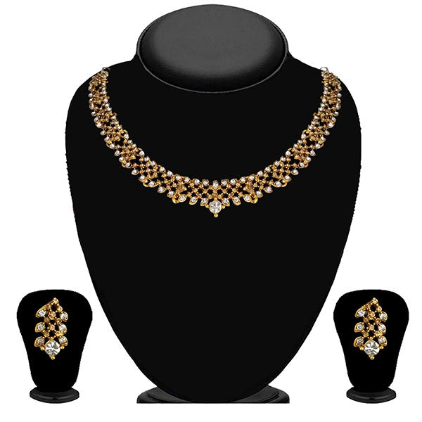 Kriaa Gold Plated Brown Austrian Stone Necklace Set - 1114716A