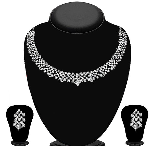 Kriaa Silver Plated White Austrian Stone Necklace Set - 1114716B