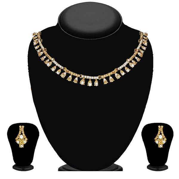 Kriaa Gold Plated Brown Austrian Stone Necklace Set - 1114718A
