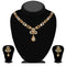 Kriaa Gold Plated Brown Austrian Stone Necklace Set - 1114719A