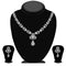 Kriaa Silver Plated White Austrian Stone Necklace Set - 1114719B