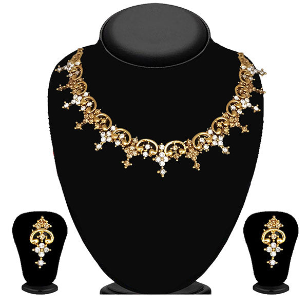 Kriaa Gold Plated Brown Austrian Stone Necklace Set - 1114720A