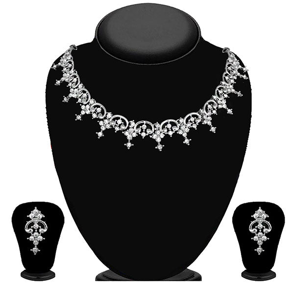 Kriaa Silver Plated White Austrian Stone Necklace Set - 1114720B