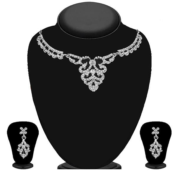 Kriaa Silver Plated White Austrian Stone Necklace Set - 1114721B
