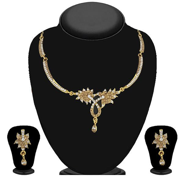 Kriaa Gold Plated Brown Austrian Stone Necklace Set - 1114722A