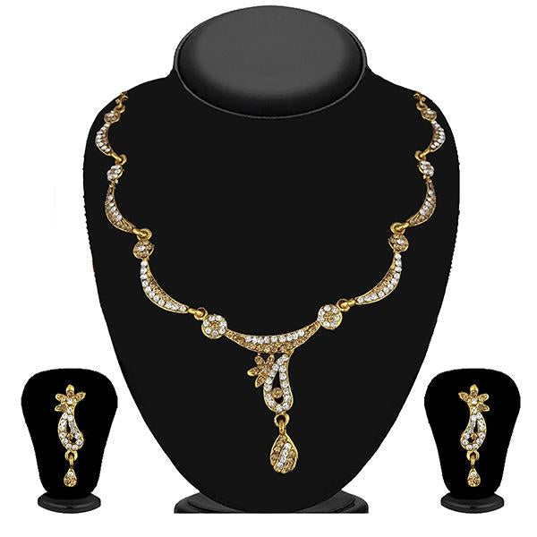 Kriaa Gold Plated Brown Austrian Stone Necklace Set - 1114723A