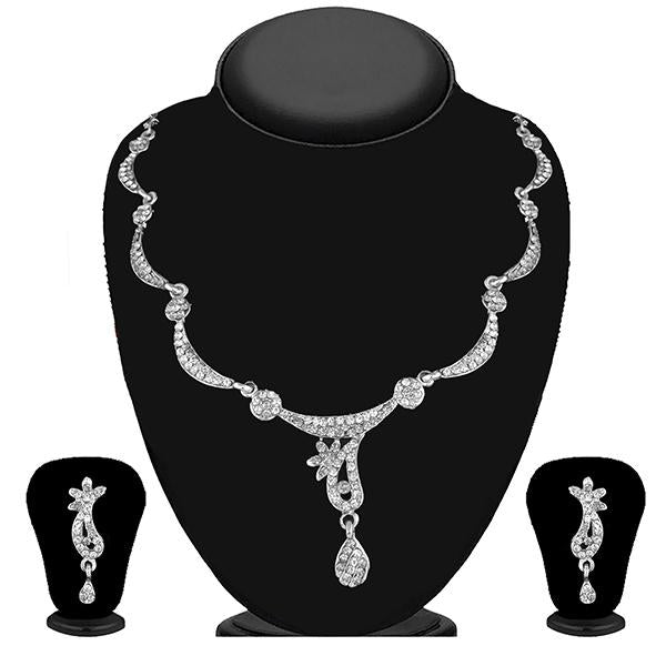 Kriaa Silver Plated White Austrian Stone Necklace Set - 1114723B