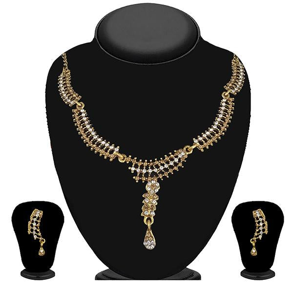 Kriaa Gold Plated Brown Austrian Stone Necklace Set - 1114725A
