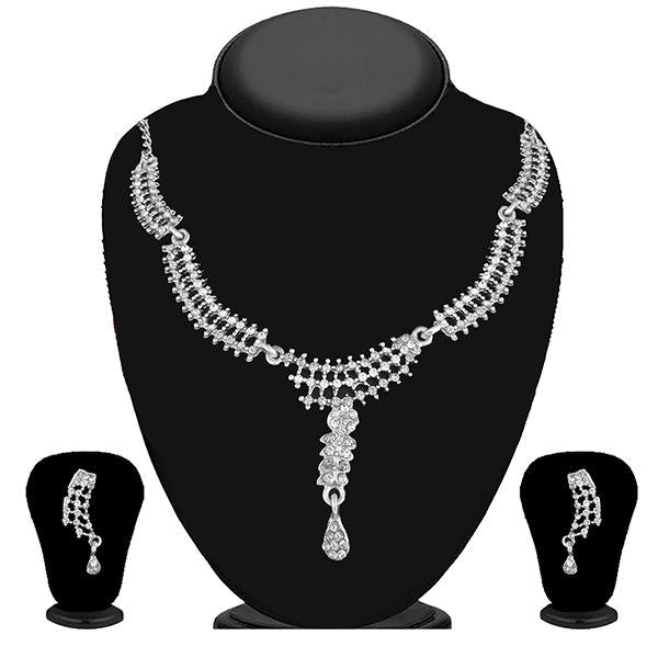 Kriaa Silver Plated White Austrian Stone Necklace Set - 1114725B