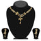 Kriaa Gold Plated Brown Austrian Stone Necklace Set - 1114726A