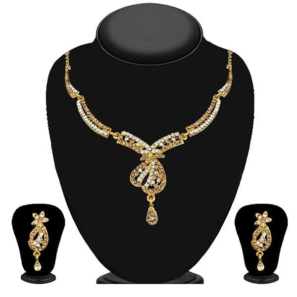 Kriaa Gold Plated Brown Austrian Stone Necklace Set - 1114727A